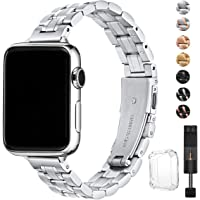 Stiroll Thin Replacement Apple Watch Stainless Steel Metal Wristband (Silver)