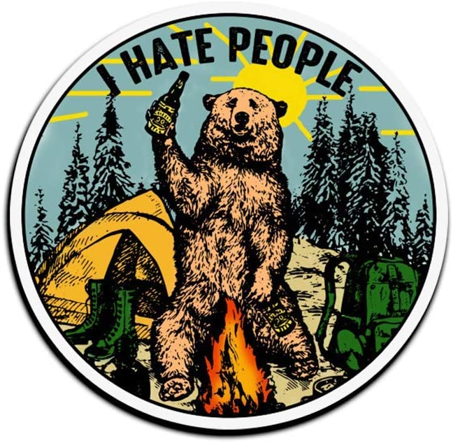Jarky Love 3 PCs Stickers Bear Camping I Hate People 3×4 Inch Die-Cut Wall Decals for Laptop Window Car Bumper Water Bottle Helmet