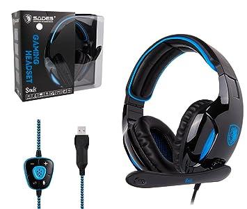 Sades New Versión SA902 Blue 7.1 Surround Sonido Estéreo PC USB Profesional Gaming Headset cinta Auriculares