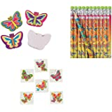 60 Pretty BUTTERFLY PARTY FAVORS - Birthday- 12 Pencils - 12 Mini NOTEPADS - 36 TATTOOS Butterflies - Girl PARTIES by FX