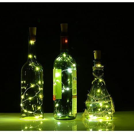 luces de Navidad Mangueras de Tiras LED suave tapa de la botella Lámparas decoradas con batería