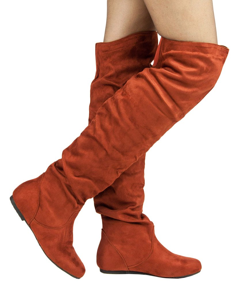 Women's Trend-Hi Over-The-Knee Thigh High Flat Slouchy Shaft Low Heel Boots by Room Of Fashion Rust Su (7.5)