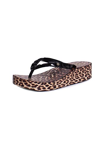 Tory Burch Jeweled Trim Synthetic Rubber Animal Printed Wedge Flip Flops  Sandals In Black Leopard Size