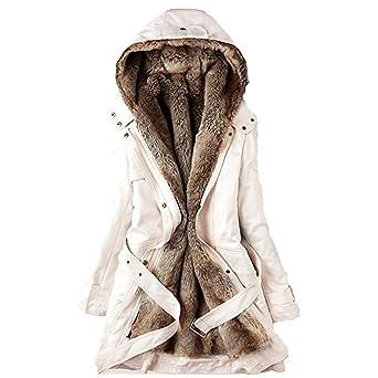 Damen Mantel Große Größe Frau Winter Lange Kapuzenjacke Warm Jacke Mit Fellkapuze Slim Fit Langarm Parka Mäntel Mode Kapuzenpullover Einfarbig