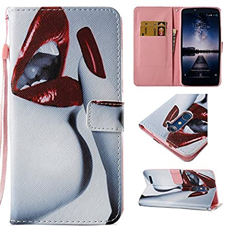 ZTE ZMAX Pro Case, ZTE Blade X Max Case, XIEKE Premium Flip Cover PU Leather Painted Pattern Wallet Cash Card Holder Kickstand Case with Wrist Strap for ZTE ZMAX Pro/Carry Z981 (Sexy - Lip Cell Phone Case