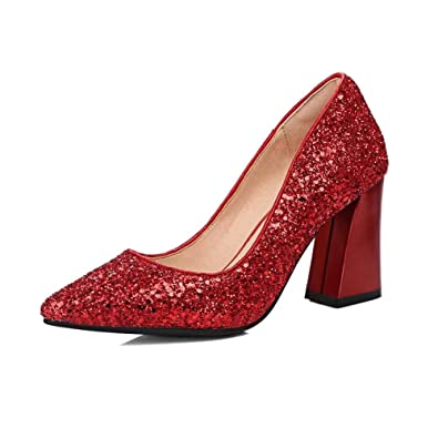 2b143576c6b KingRover Women s Sequin Pointy Toe Slip On Mid Block Heel Pumps Court Shoes  Size  Amazon.co.uk  Shoes   Bags