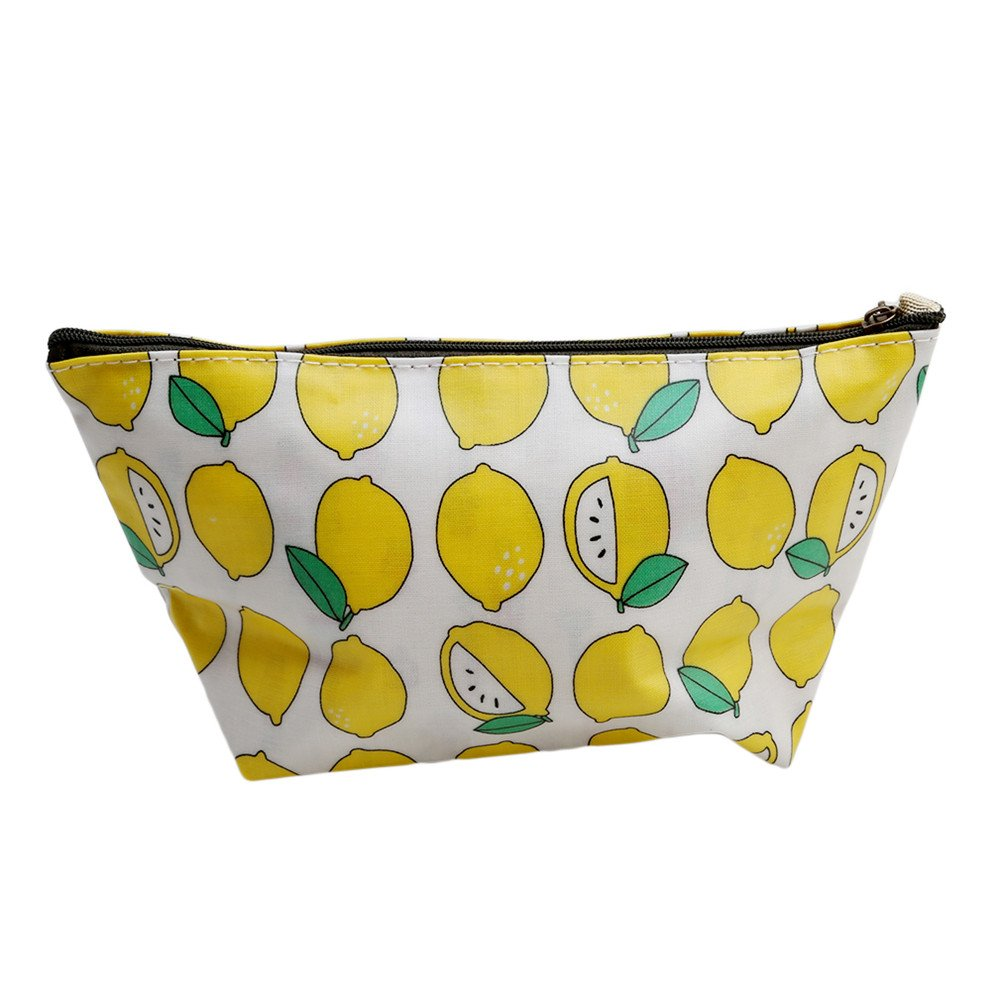 ODN Portable Waterproof Elegance Cosmetic Pouch Toiletry Bag Printed Top Zipped Makeup Case for Travel, Anniversary, Party and Dating (Yellow Duck)