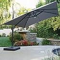 Sonoma Outdoor Water Resistant Canopy Umbrella w/ Solar Light Stip (Grey)