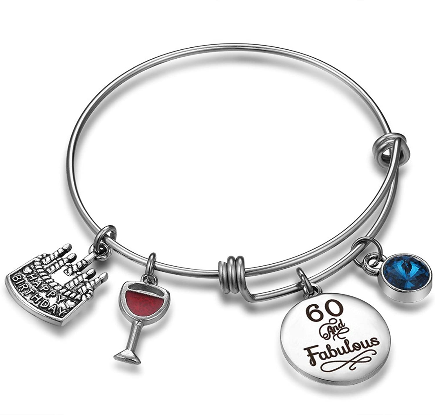 Birthday Gifts For Her Expandable Bangle Bracelet W Birthstone Charm Women Girls Best Friend 60th