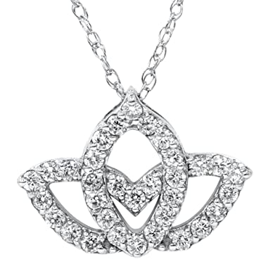 Amazoncom 38ct Diamond Lotus Flower Pendant 14k White Gold Jewelry