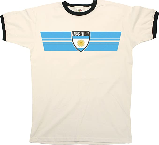 Mens ARGENTINA RETRO STRIP Patriotic Ringer T-Shirt Camiseta Para Hombre