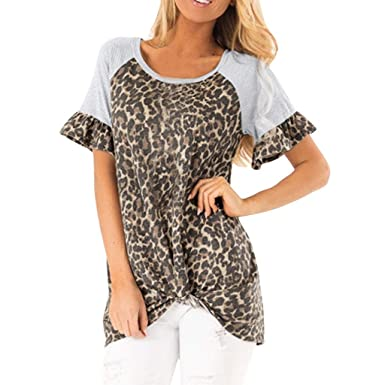 73fcbbfd5 Womens Leopard Printed Halter Neck Cami Vest Evening Party Tops Blouse  (Brown, S)