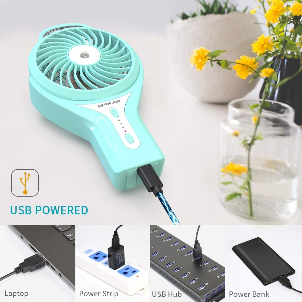 Mini Portable Desk Personal Cooling Fan for Outdoor 2200mAh Battery Humidifier Quiet White OPOLAR F304B Handheld Misting Home Water Spray Rechargeable Operated 6 Inch high 3 Settings