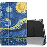 MoKo Case for All-New Amazon Fire HD 10 Tablet (7th Generation, 2017 Release) - Smart-shell Stand Cover with Auto Wake / Sleep & Translucent Frosted Back for Fire HD 10.1 Inch Tablet, Starry Night