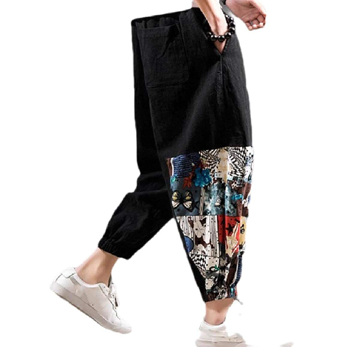 Andopa Men Big Tall Lightweight Loose-Fit Beam Foot Trousers Cotton Tenths Pants