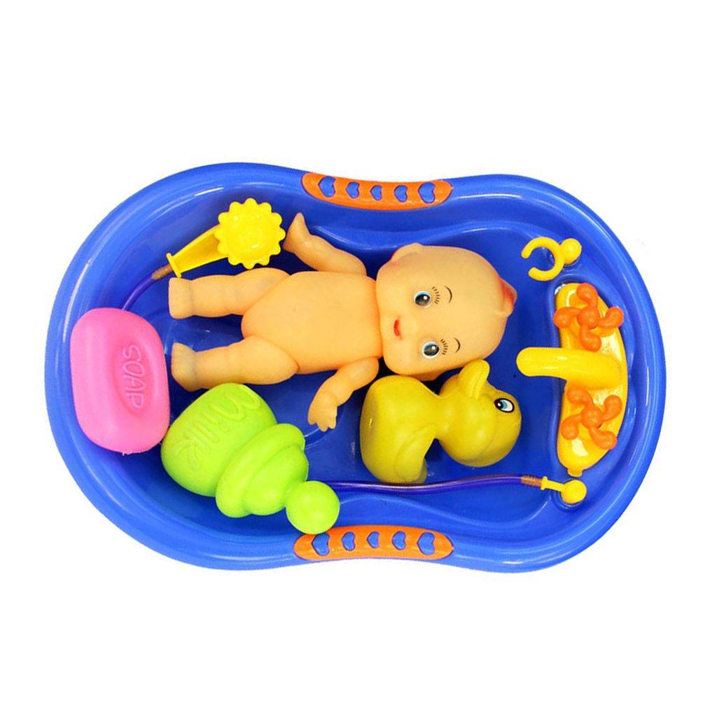 Amazon.com: MagiDeal Blue Plastic Bathtub with Baby Doll Bath Toy ...