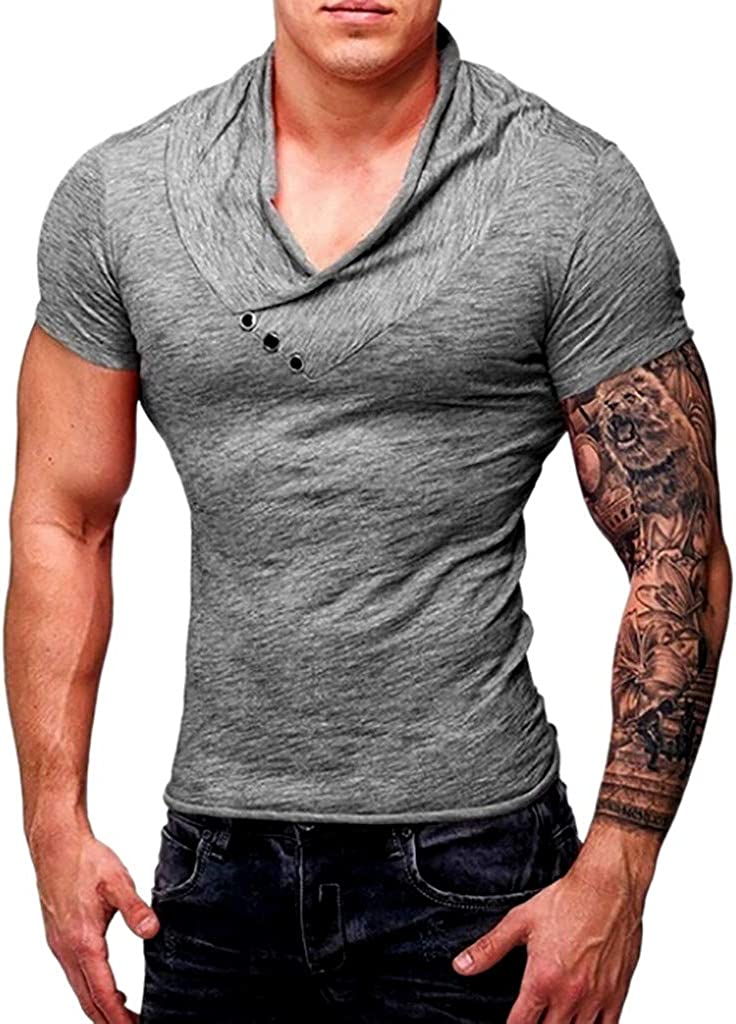 ❤️Mens Slim Fit Muscle T Shirt Tops Summer Casual V Neck Short Sleeve Blouse Tee