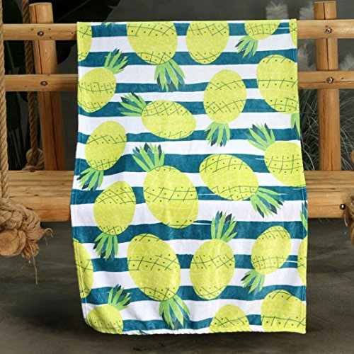 Hongxin Hot Sale Blankets Comfort Warmth Soft Cozy Air Conditioning Easy Care Machine Wash Watermelon Pineapple Kiwi Cartoon Pattern Air Conditioning Blanket Comfort Cover (70x100cm, B)