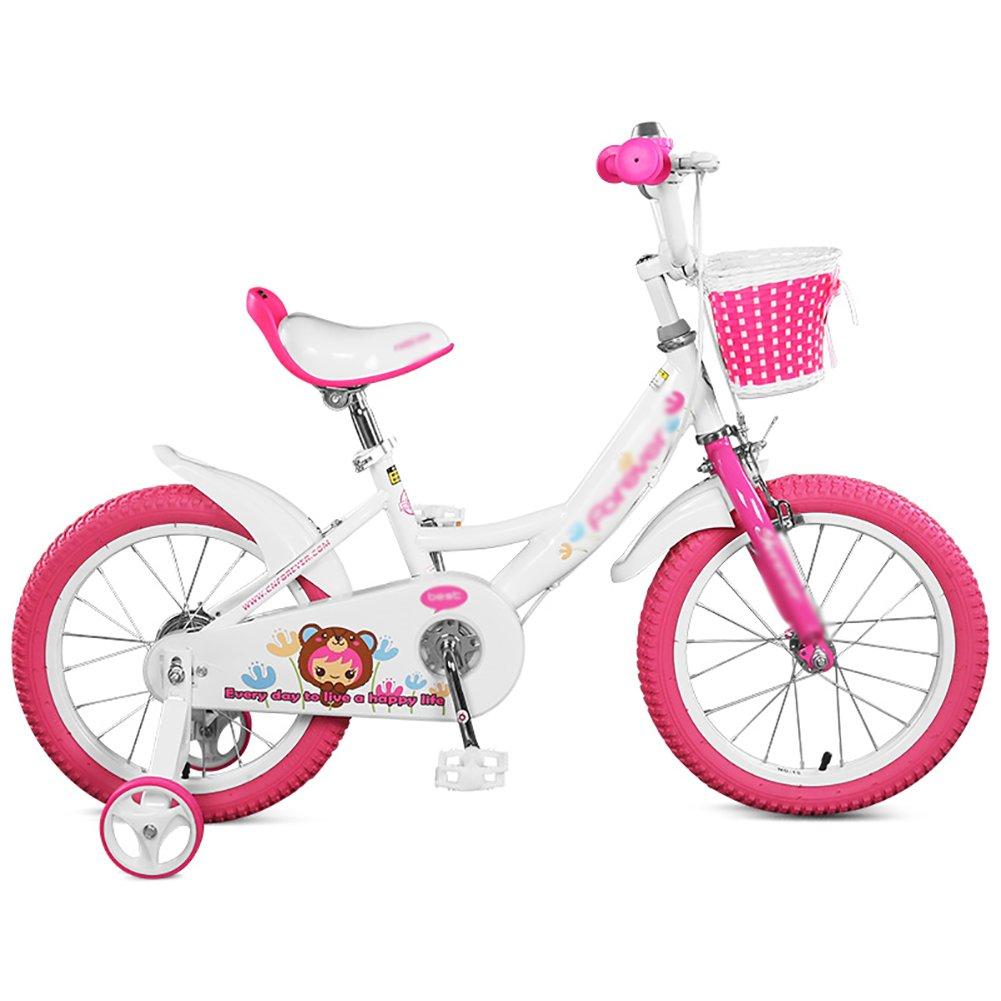 白とピンクの子供の自転車14 16インチ3-8歳の赤ちゃんの少女少女ベビーカー学生のペダル自転車 14 inch  B07DW15FLT