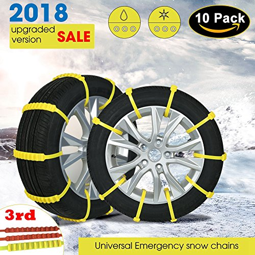 【Updated Version】Diagtree update 3rd Snow Chains Anti Skid Tire Chains Adjustable Emergency Traction Aid for Vehicle Car Vans Suv 10pcs Anti-slip Chain-Width 145-295mm/5.8-11.6'' (10 pack)