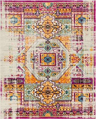 Luxuriance Global Vintage Mamluk Traditional Medallion Distressed Purple Fuchsia Yellow Gold Beige 8×10 7 10 x 9 10 Area Rug