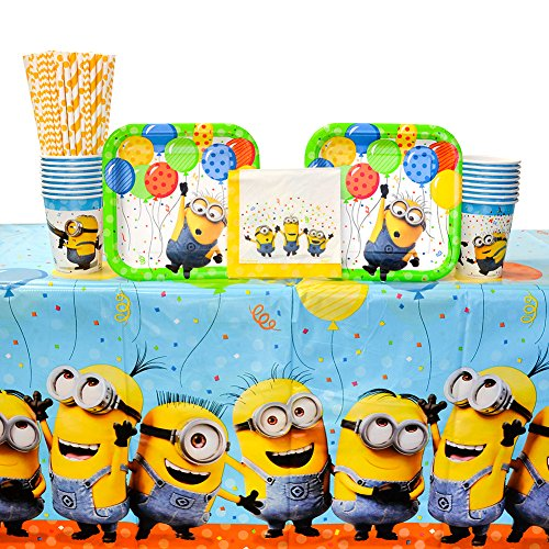 Despicable Me Party Supplies Pack for 16 Guests: Straws, Dessert Plates, Beverage Napkins, Cups, and Table (Despicable Me Cups)
