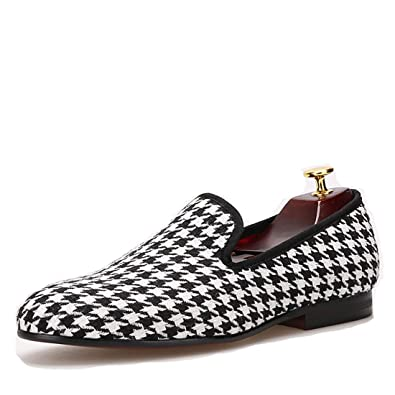 Swallow Gird Cotton Fabric Men Dress Shoes Slip-On Loafer Round Toes Smoking Slipper