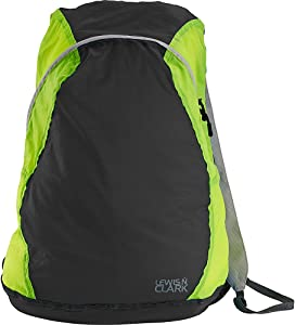 Lewis N. Clark Women's Packable Daypack, Hiking Camping Backpack, Ditty Bag, Charcoal/Neon Lemon, One Size