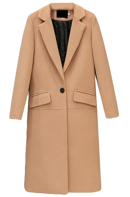 Unko Women Slim one button long trench coat woolen overcoat
