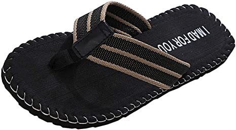 Tsmile Mens Summer Striped Flip Flop Slipper Male Indoor Open Toe Anti Skid Beach Flats Slipper Slip On Shoes