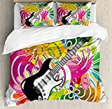 Popstar Party Queen Size Duvet Cover Set by Ambesonne, Hawaiian Abstract Composition with Colorful Leaves and Guitar Instrument, Decorative 3 Piece Bedding Set with 2 Pillow Shams, Multicolor