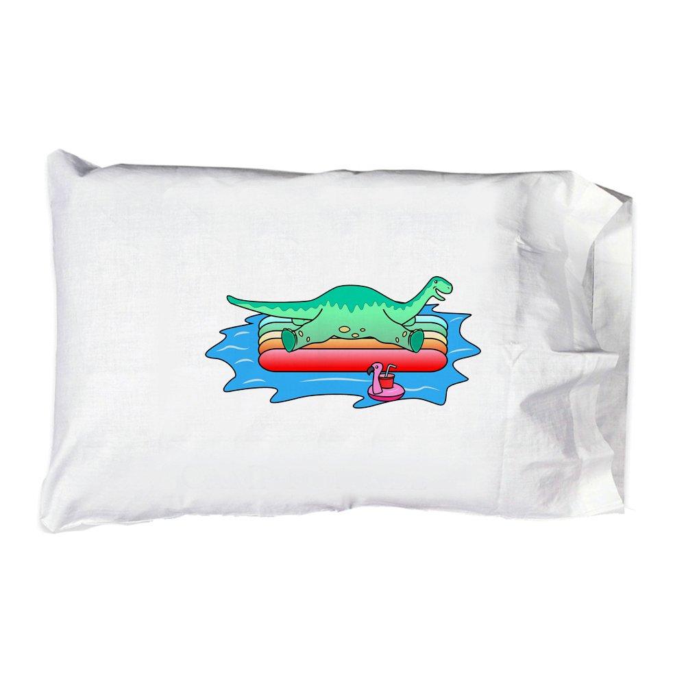 Hat Shark Pillow Case Single Pillowcase - Brontosaurus Dinosaur On Floating Raft In the Ocean Fun Cute by Hat Shark