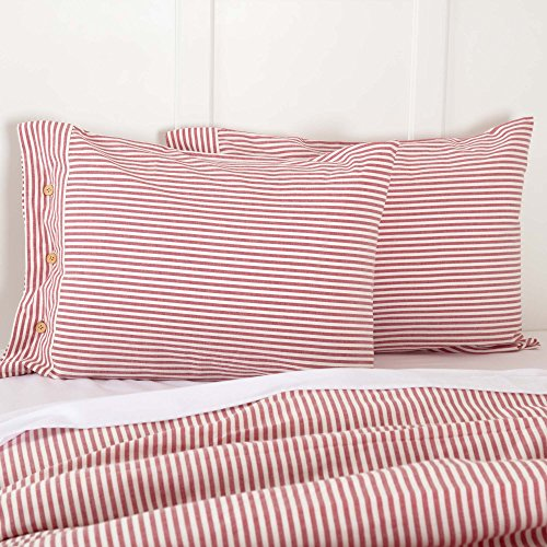 "Piper Classics Farmhouse Ticking Stripe Red Standard Sham, 21"" x 27"", Bed Pillow Cover"