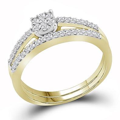 Amazon 10k yellow gold flower diamond engagement ring wedding 10k yellow gold flower diamond engagement ring wedding band set bridal set round cluster 1 mightylinksfo
