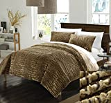 Perfect Home 7 Piece Cayman NEW FAUX FUR COLLECTION! With Mink like backing in Cayman Animal Skin Design Queen Comforter Set Gold With White Sheets included
