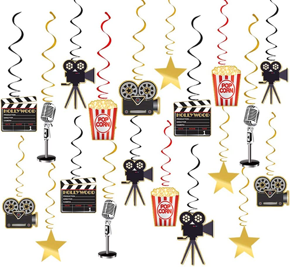 Movie Night Party Supplies Hanging Decorations - 30pcs Hollywood Movie Theme Party Decorations