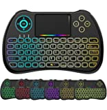 EASYTONE 2.4GHz Colorful Backlit Mini Wireless Keyboard with Mouse Touchpad,USB Rechargeable Combos for Android Kodi TV Box,HTPC,IPTV,PC,PS3 [Updated]