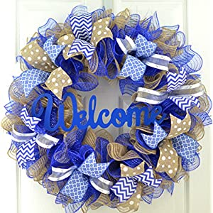 Royal Blue Welcome Wreath | Burlap Decor | Everyday Mother's Day Gift | Bridal Shower Present 39