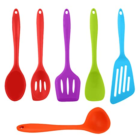 Kitchen Utensil 6 Set, Silicone Cooking Utensils 6 Pieces with  Spoons,Turners, Spoonula/Spatula, Ladle - Heat Resistant Kitchen Utensils,  Colorful