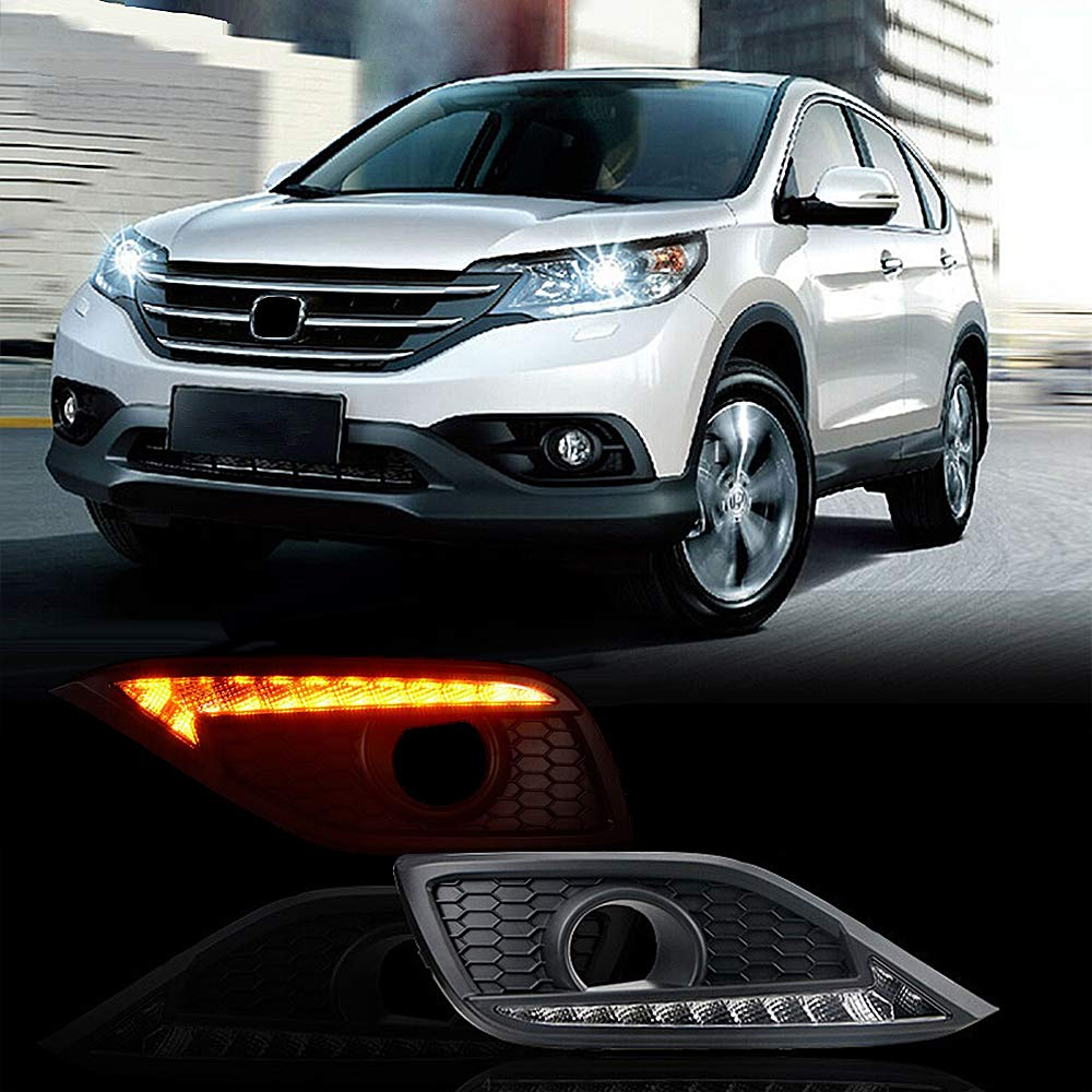 MotorFansClub LED Daytime running light DRL Fog Lamp for Honda CRV 2012 2013 2014 with Turn Signal (White & Yellow)