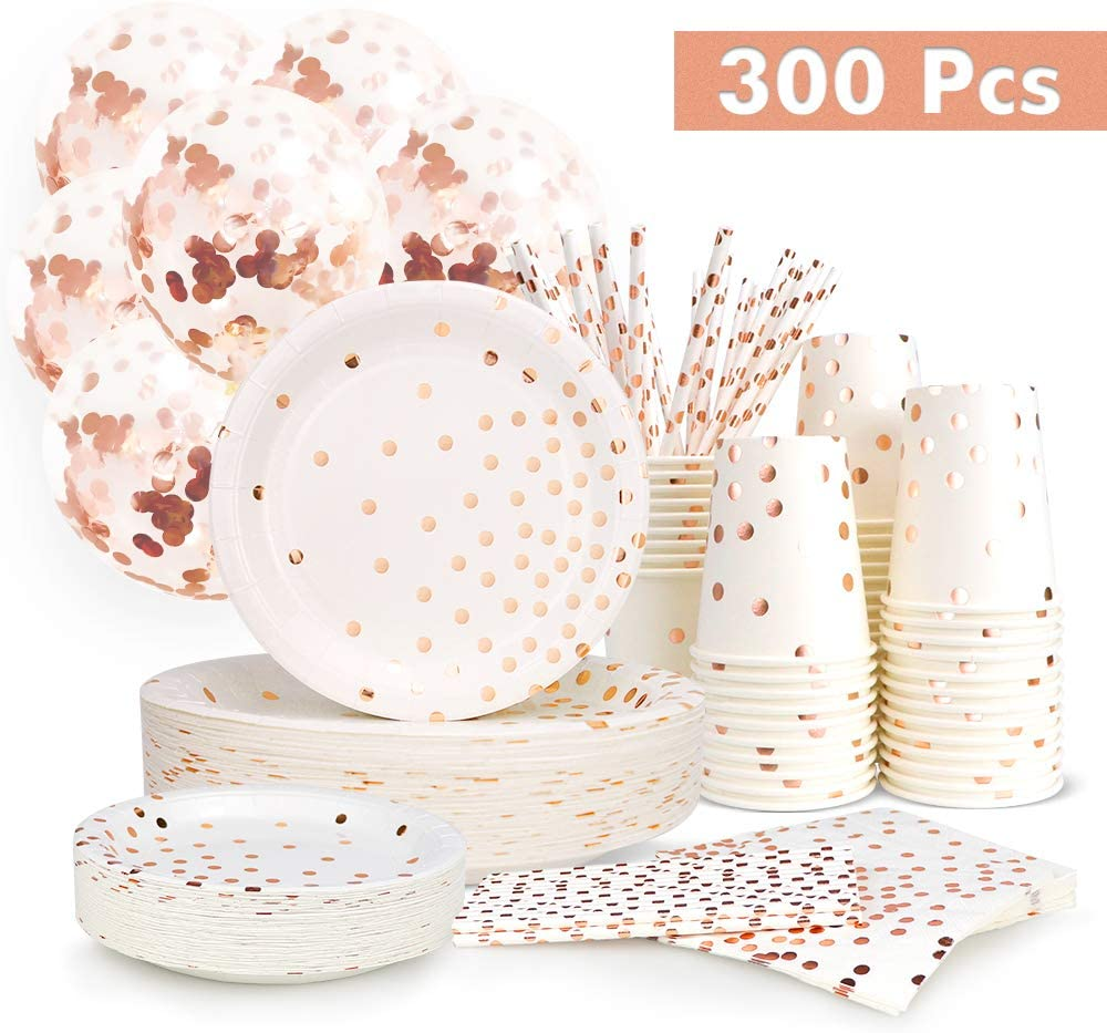Great for Various Themed Parties We Love Sundays Rose Gold Confetti Cake Paper Plates 10-Pack