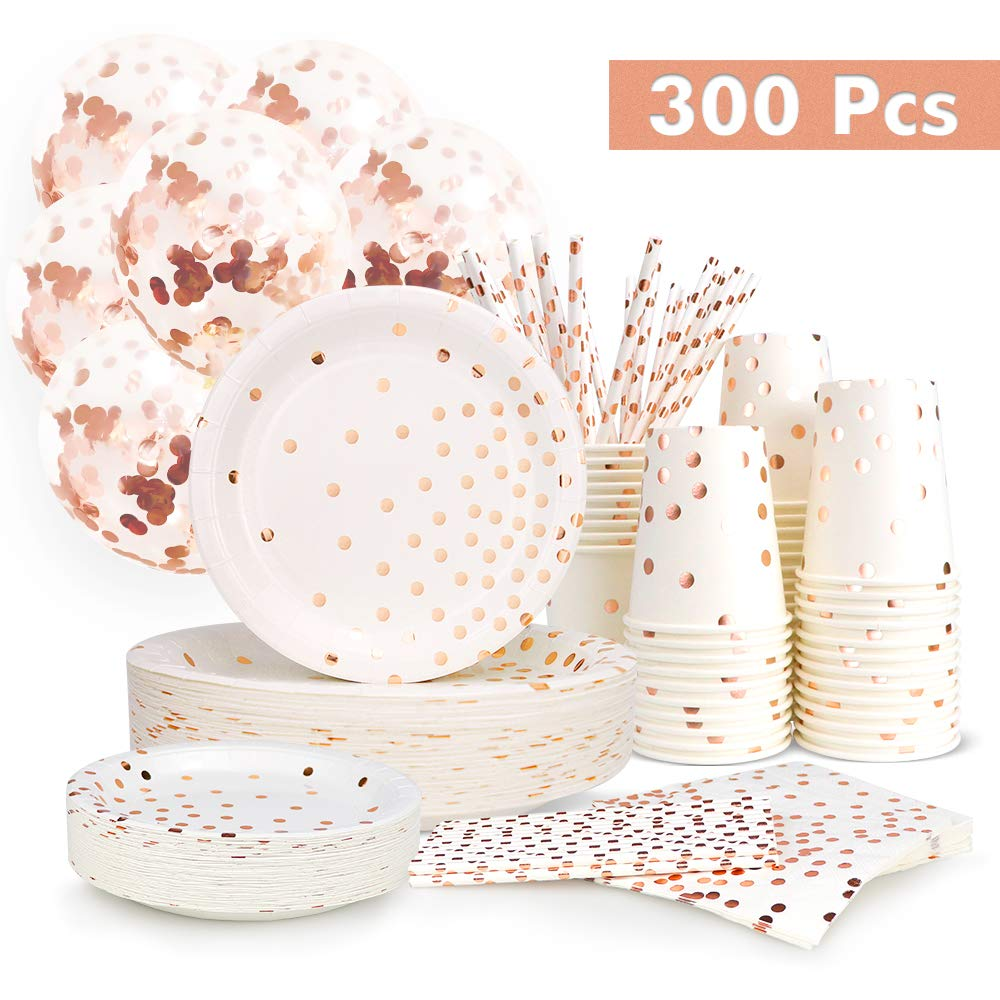 300PCS Rose Gold Paper Party Supplies - Disposable Paper Plates Dinnerware Set Rose Gold Dots 50 Dinner Plates 50 Dessert Plates 50 Cups 50 Napkins 50 Straws 50 Balloons Birthday Party Wedding Holiday by LOTFUN