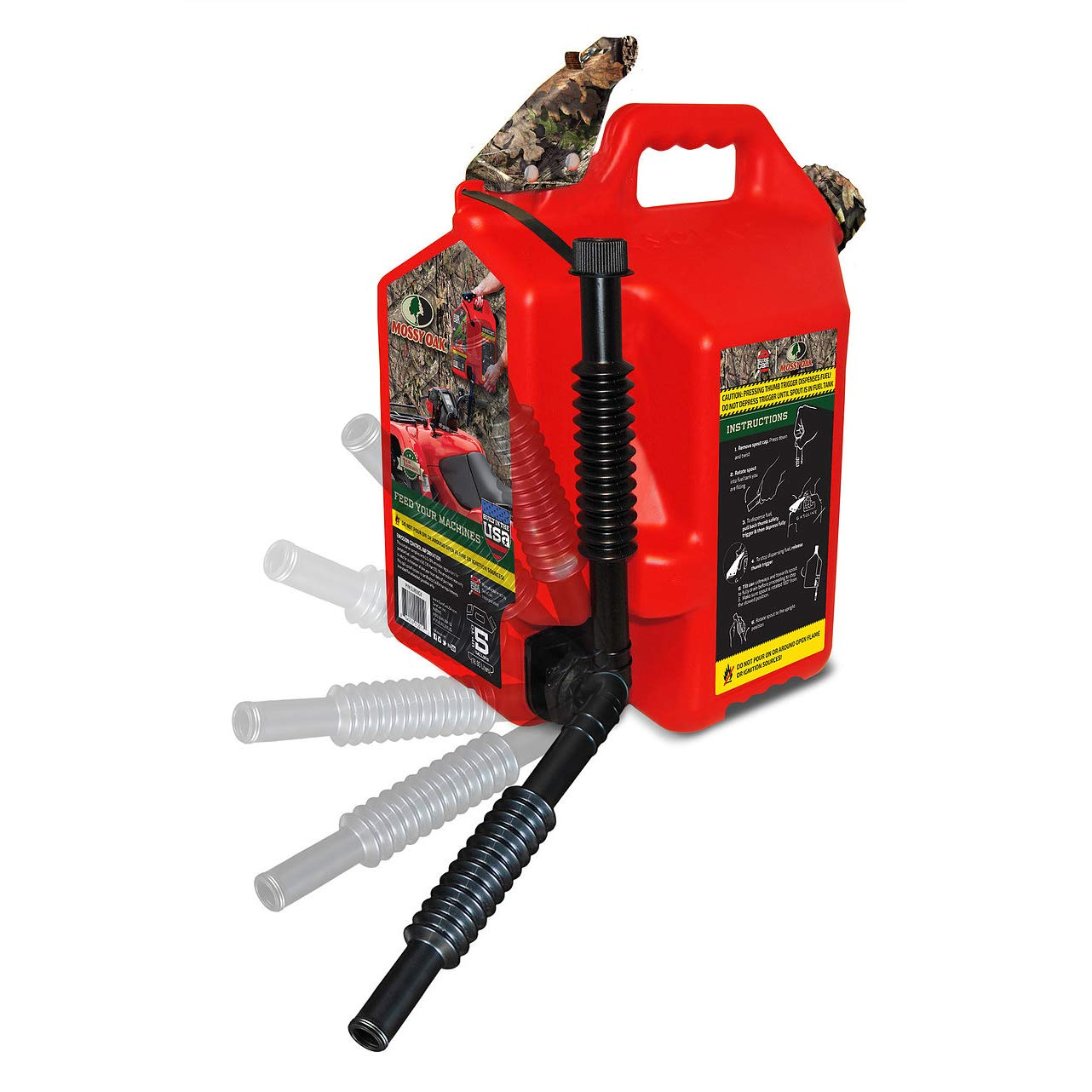 Surecan Flex 5 Gallon Total Flow Control Mossy Oak Hunting Fuel Container, Red by Surecan (Image #2)