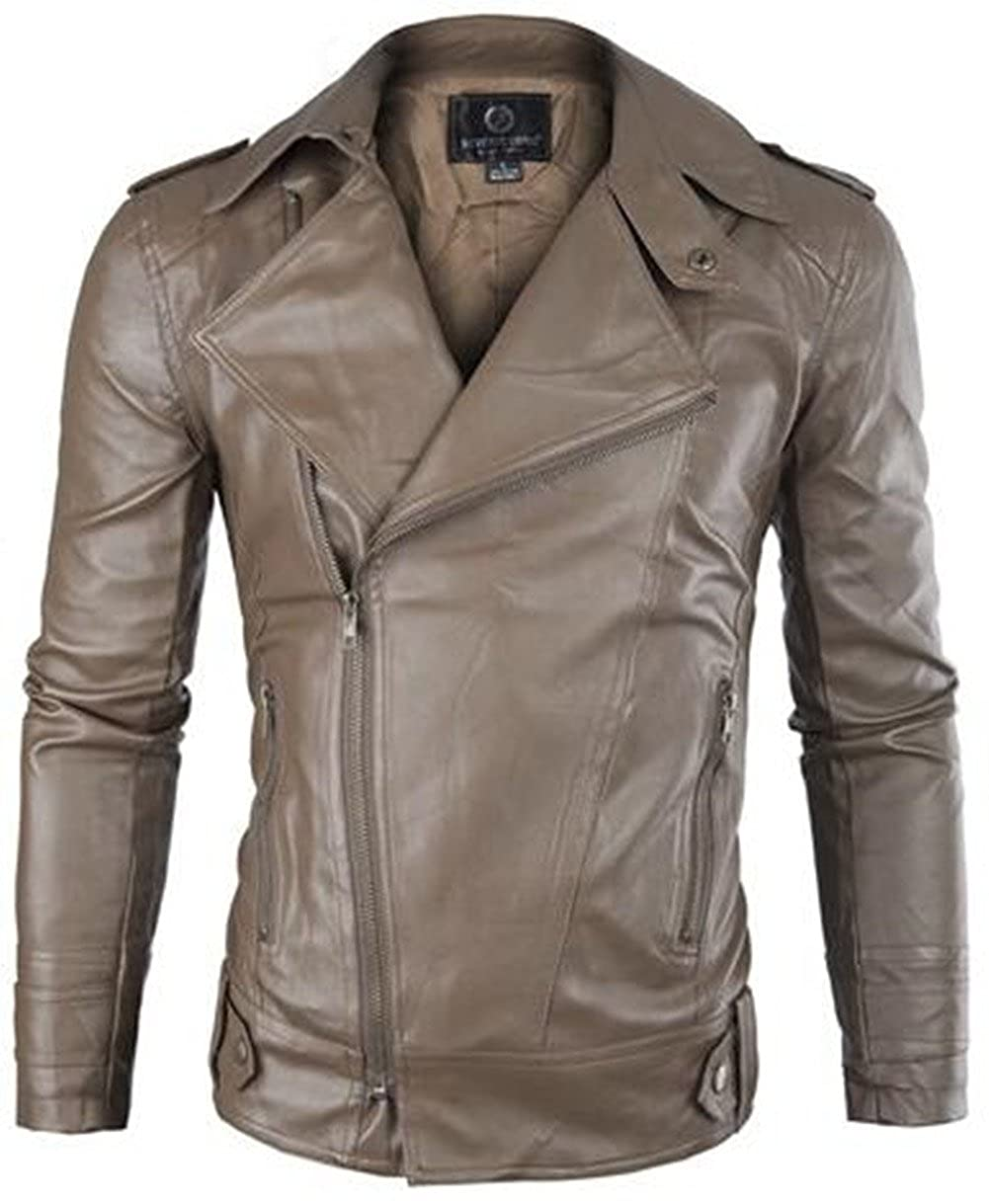 Jinmen Men's Slim Classic Oblique Zipper Rock Style PU Leather Motorcycle Jacket