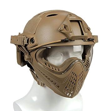 YAKOK Airsoft Casco Desmontable táctico Casco protección Airsoft máscara y Gafas de Cara Completa Casco para