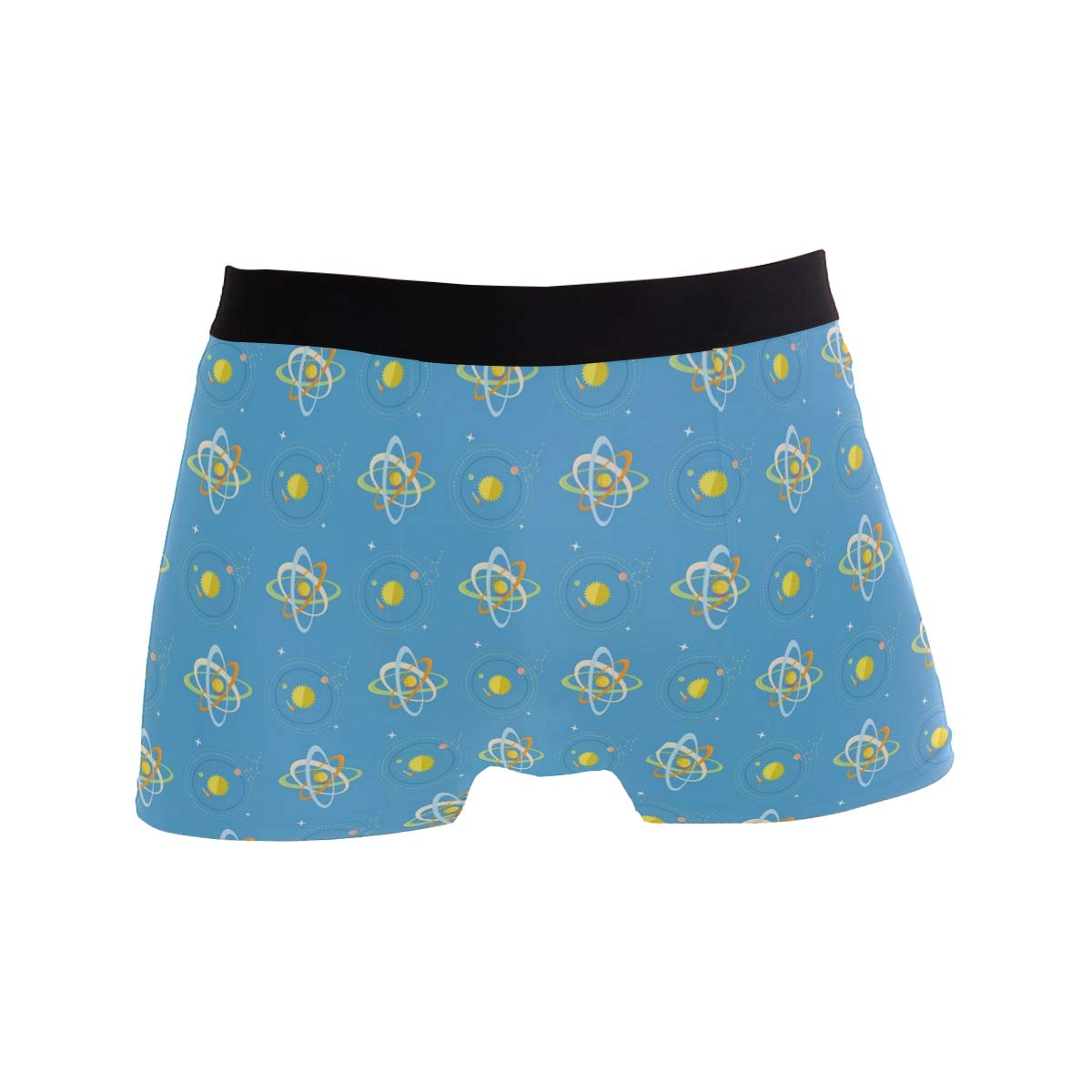 Charlley Lee Mens Soft Breathable Bright Solar System and Planets Rotating Blue Underwear Boxer Briefs