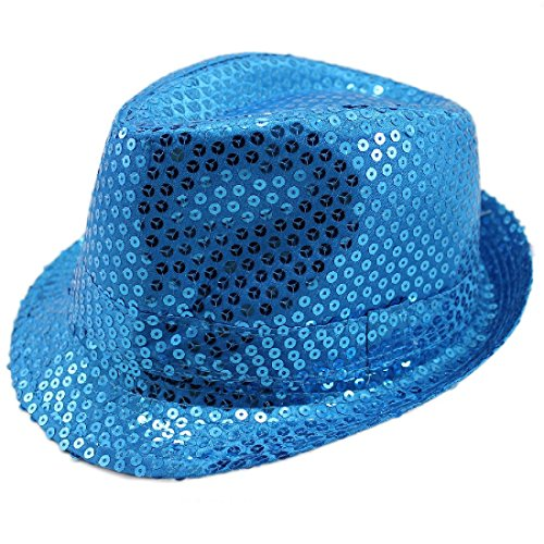 Sequin Fedora Hat Trilby Dance Shiny Sparkle Glitter Costume Unisex Mens Womens