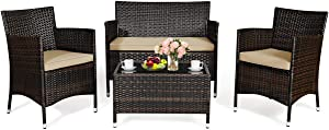 Tangkula 4-PCS Patio Rattan Conversation Set, Outdoor Wicker Furniture Set with Tempered Glass Coffee Table &Thick Cushion, Rattan Chair Wicker Set for Garden, Lawn, Poolside and Backyard (1, Brown)