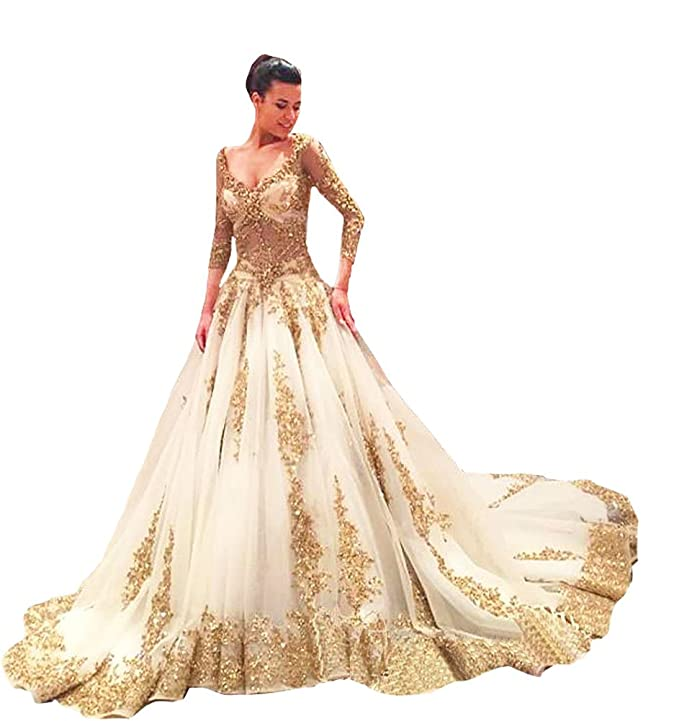TBGirl Gold Applique See-through Body Long Sleeve Ball Gown Wedding ...