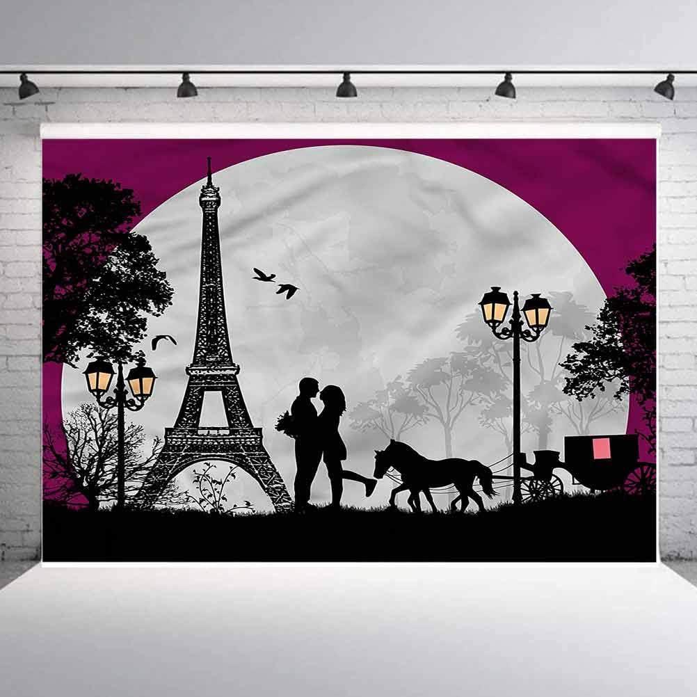 6x6FT Vinyl Photography Backdrop,Romantic,Couple with Full Moon Photoshoot Props Photo Background Studio Prop